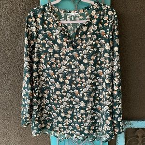 Pleione L Long sleeve blouse Hunter green flowers